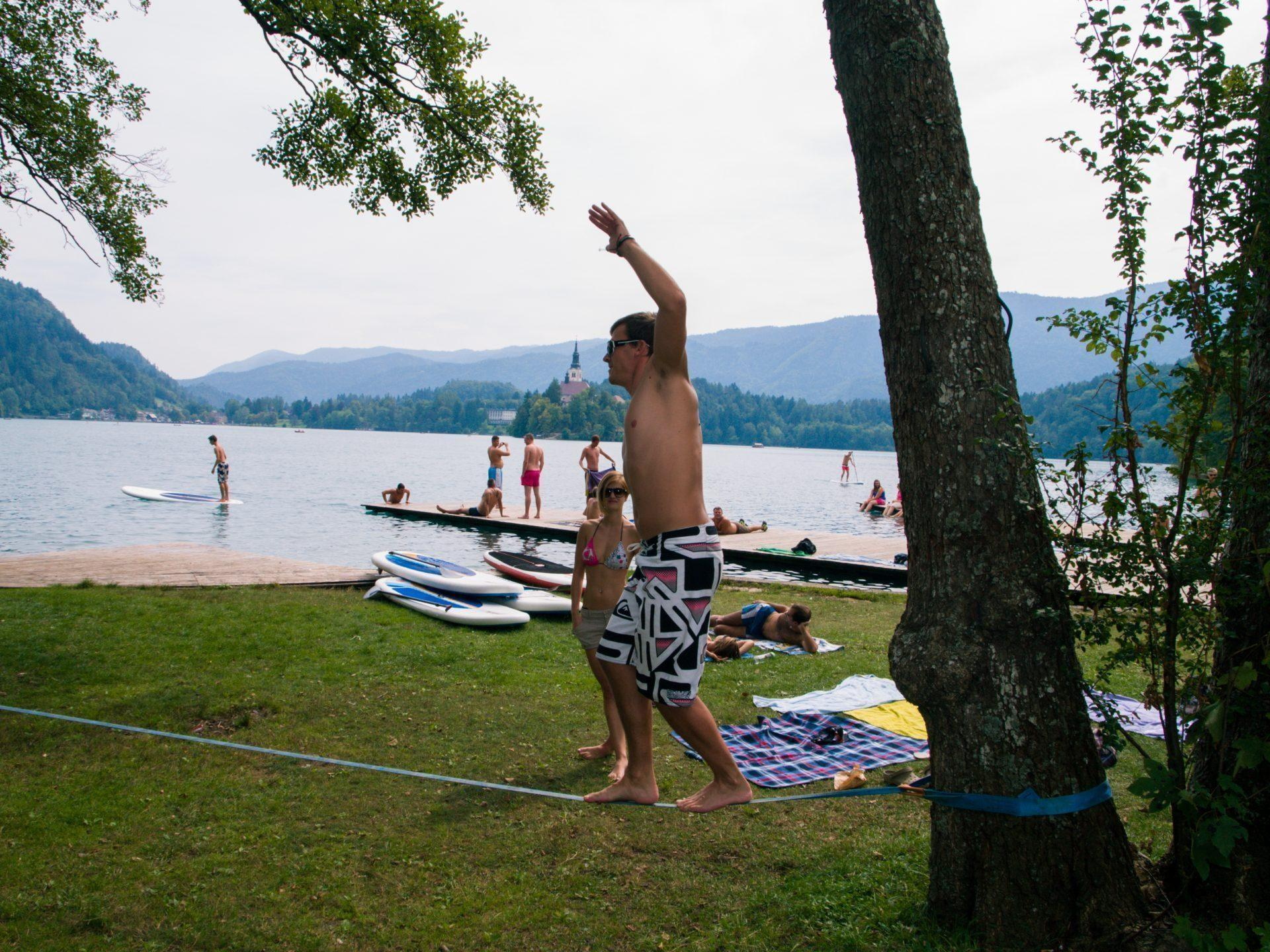 Active SUP day | standup paddling + slackline session | lake Bled | Slovenia
