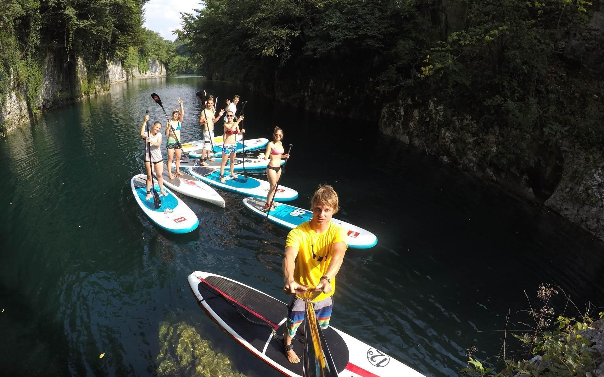 Paddle boarding lake most na Soci | Active SUP Tour Slovenia