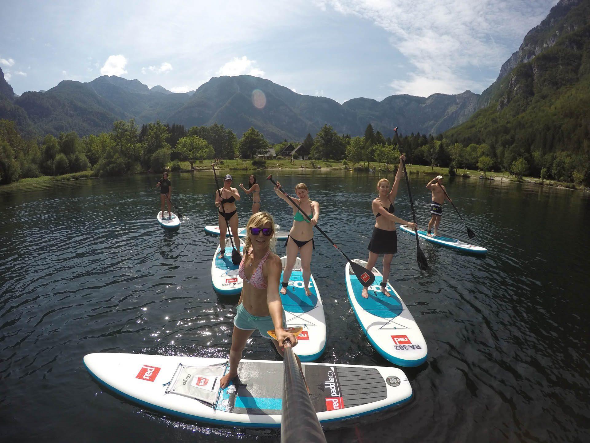Paddle-boarding Bohinj, Slovenia, Europe