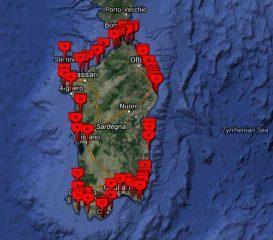 zemljevid kite spotov po sardiniji