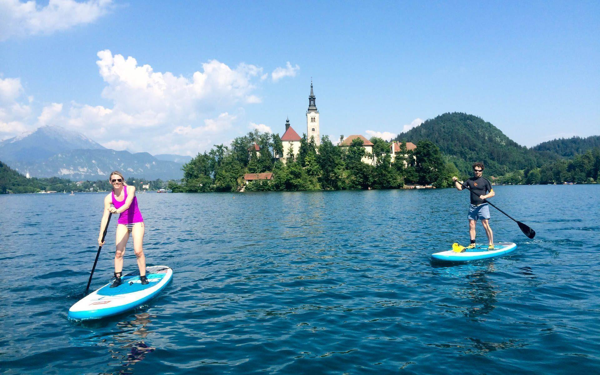 Lake Island stand-up paddleboarding tour to Island Bled
