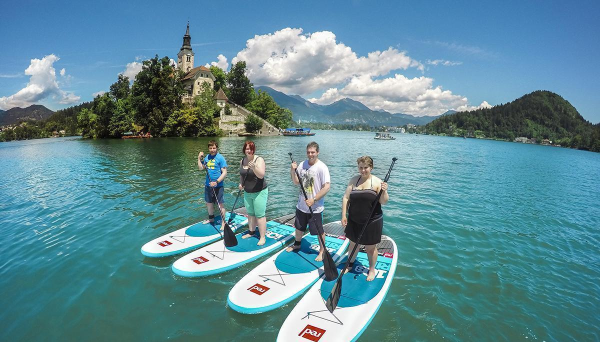 Paddle-boarding Bled, Slovenia, Europe
