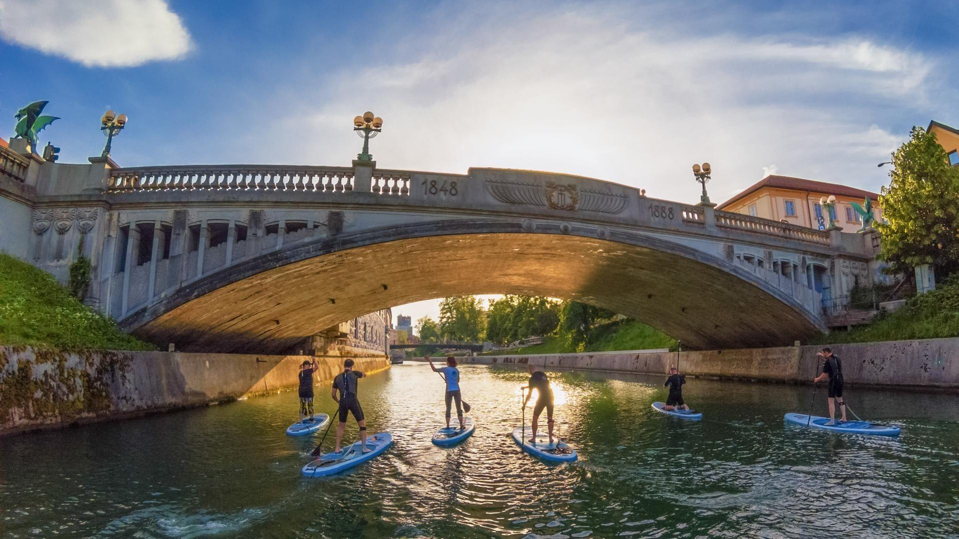 Urban paddle boarding in Slovenia, Ljubljana