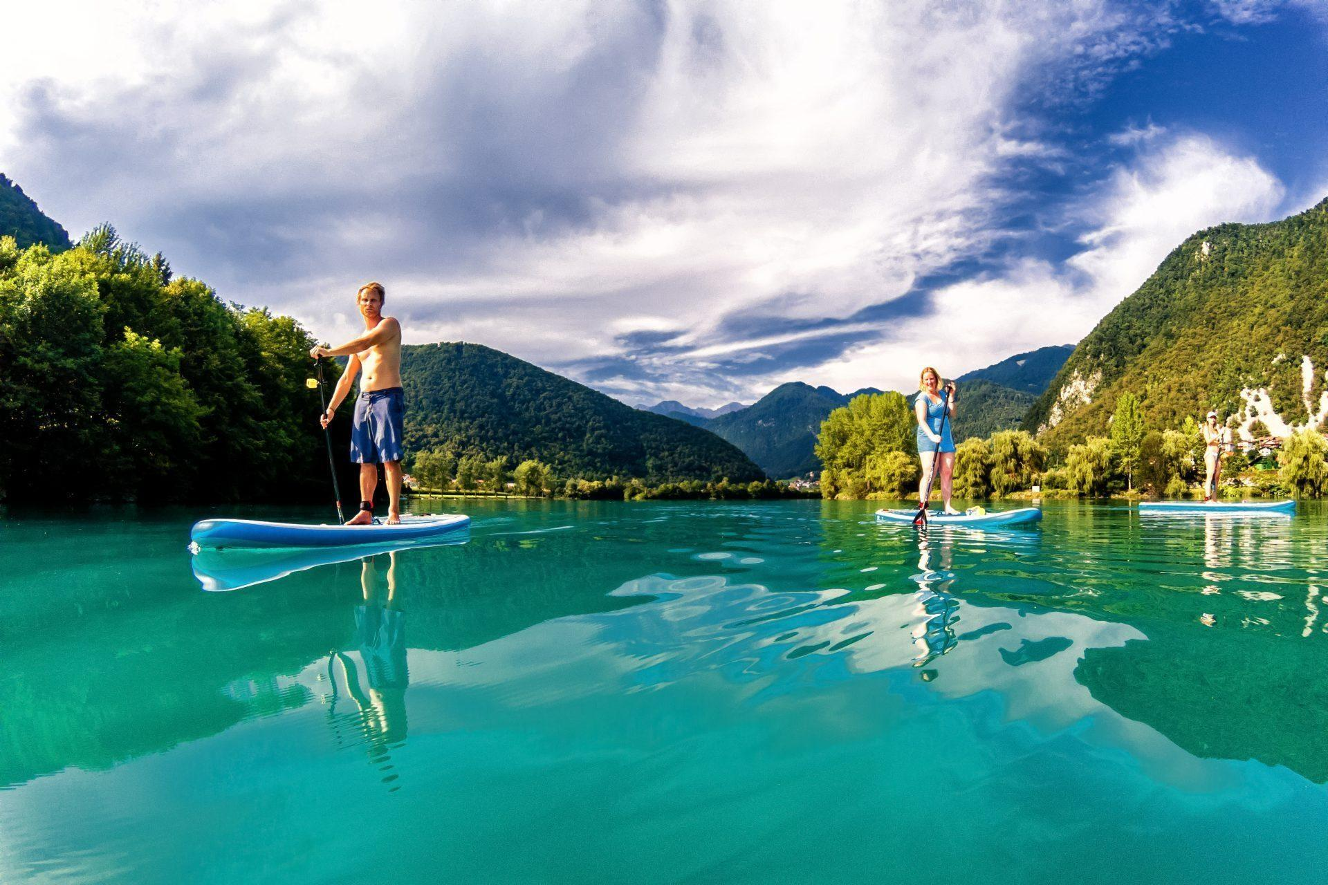 Sup tour Soca river, Soca valley, Slovenia, Europe