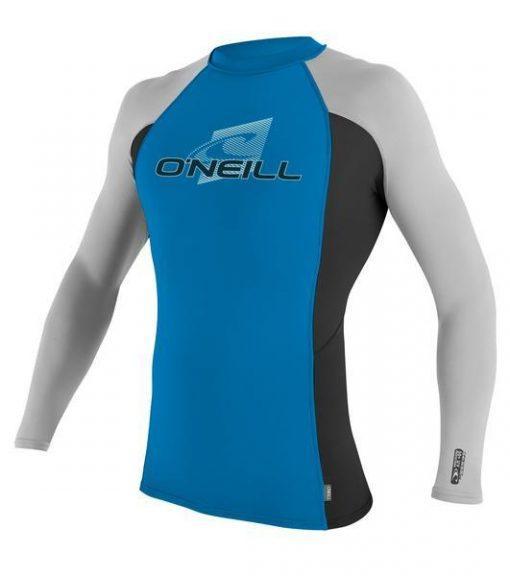 O'Neill Skins S/S Crew brtblu/blk/lunar Front