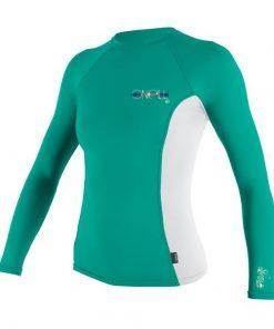 O'Neill Wms Graphic L/S Rash Tee Green Front
