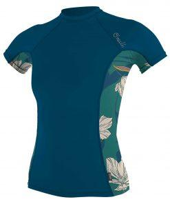 O'Neill Wms Side Print S/S Rash Guard GH8 FRENCHNAVY/BRIDGET -