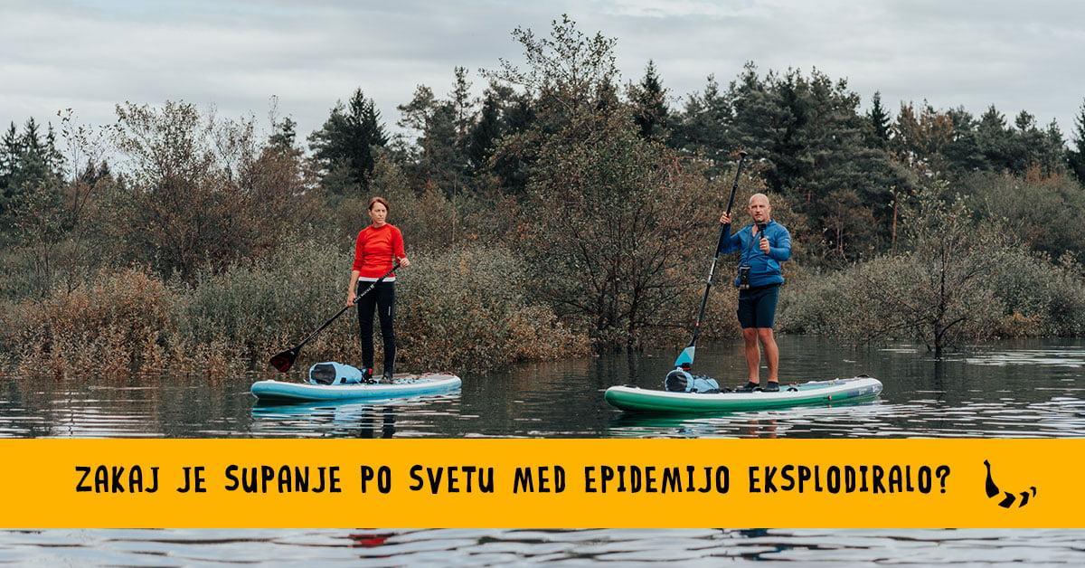 Dva suparja na reki brez težav držita socialno distanco
