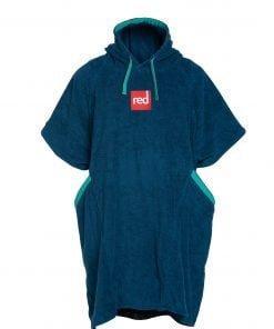 Pončo s kapuco modre barve z žepi Red Original